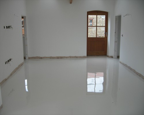 White Poured Resin Floor Farmhouse Conversion County Durham