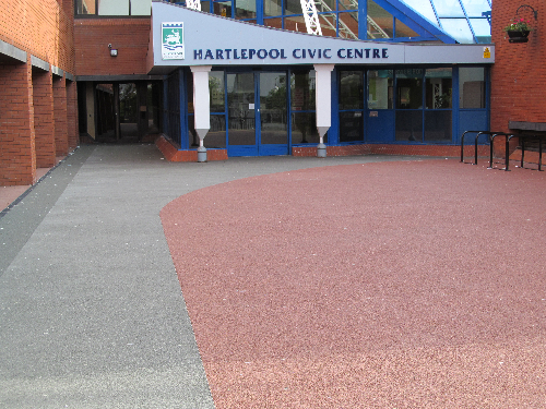 Resin bound paving Hartlepool council offices