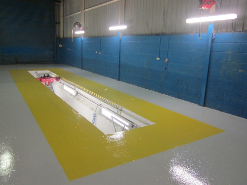 Workshop floor painting County Durham
