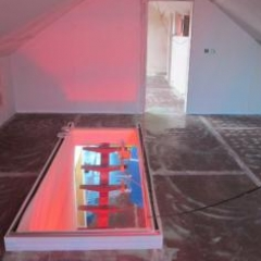 poured resin flooring installed upon timber substrate